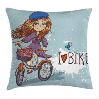 Cartoon Girl with Bike Pillow Cover