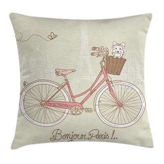 Postcard from Paris Bicycle Pillow Cover