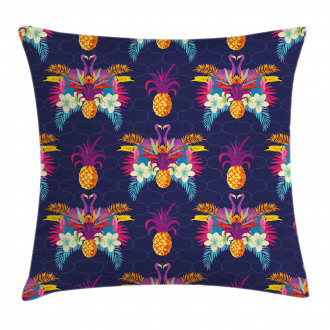 Vivid Flowers Pineapples Pillow Cover