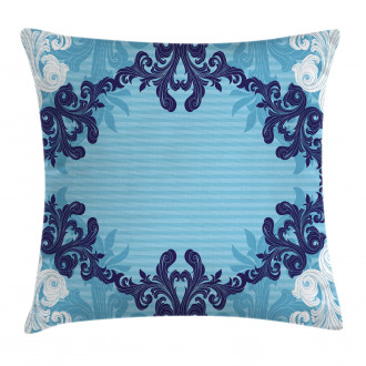 Blue Ornamental Flowers Pillow Cover