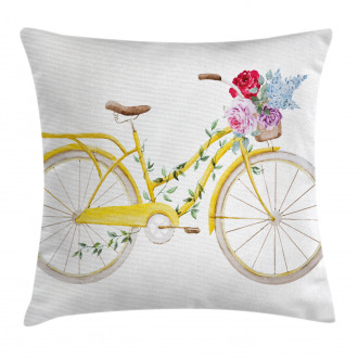 Bicycle with Flowers Pillow Cover