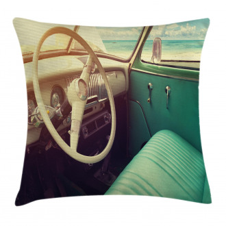 Vintage Car at the Seaside Pillow Cover