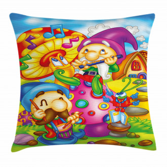 Cartoon Singing Elves Art Pillow Cover