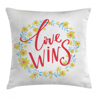 Love Wins Floral Wreath Pillow Cover