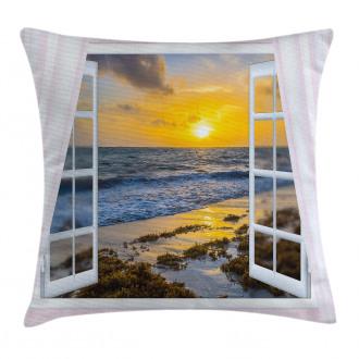 Open Window Sunrise Sea Pillow Cover