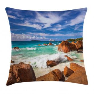 Rocky Coast Seychelles Pillow Cover