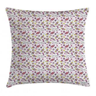 Cute Unicorn Candies Stars Pillow Cover