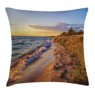 Sandy Calm Beach Sunset Pillow Cover