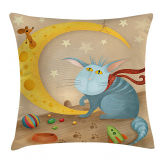 Cat Mouse Crescent Moon Pillow Cover