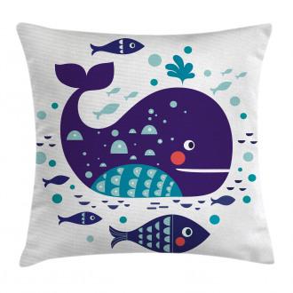 Ocean Cartoon Big Fish Pillow Cover