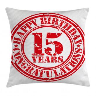 Grunge Stamp Fifteen Pillow Cover
