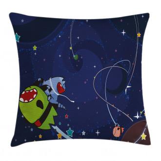 Cartoon Kitten Aliens Pillow Cover