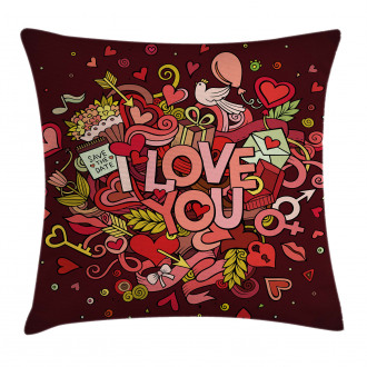 Funky Hearts Arrows Pillow Cover
