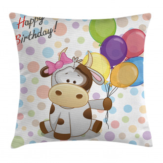 Baby Cow and Balloons Pillow Cover