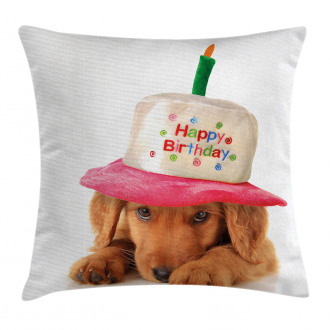 Young Puppy with Hat Pillow Cover