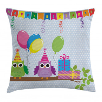 Cartoon Owls at Party Pillow Cover