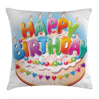 Cake Candles Hearts Pillow Cover