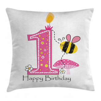 Bees Party Cake Candle Pillow Cover