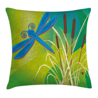 Blue Dragonfly on Green Pillow Cover