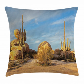Saguaros Boulders Sunset Pillow Cover