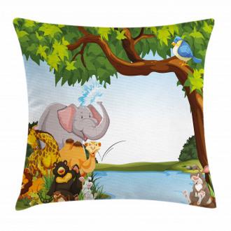Cartoon Animals Cute Funny Pillow Cover