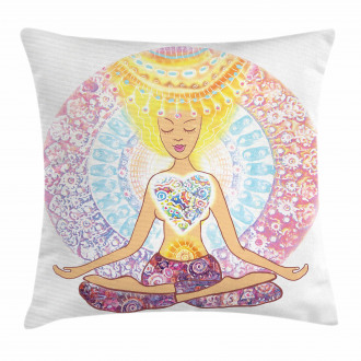 Yoga Throw Pillow Case Woman in Lotus Position Cushion Cover