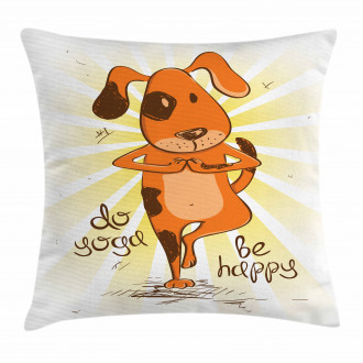 Cartoon Dog Happy Message Pillow Cover