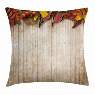 Fall Throw Pillow Case Dry Leaves Berries Vivid Cushion Cover