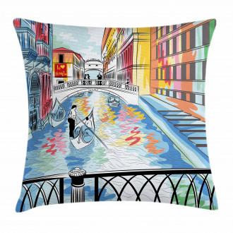 Colorful Sketch Bridge Pillow Cover