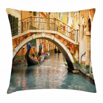 Venice Throw Pillow Case Ancient Bridge Gondola Cushion Cover