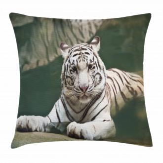 White Tiger Swimming Fun Pillow Cover