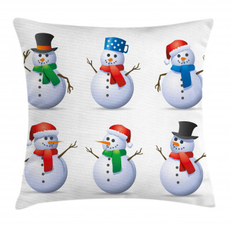 Snowmen with Hats Pillow Cover