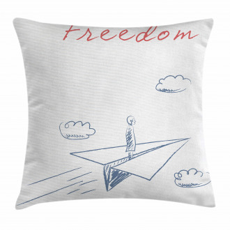 Paper Plane Sketch Pillow Cover
