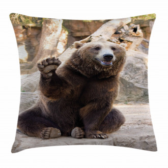 Friendly Animal Waving Paw Pillow Cover