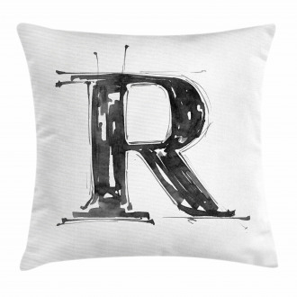 Sketchy R Grunge Tones Pillow Cover
