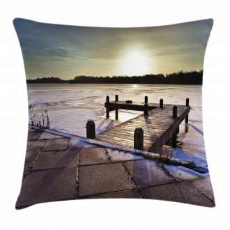 Sunrise Above a Jetty Pillow Cover