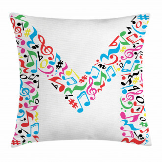 Notes Music Capital M Pillow Cover