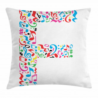 Music Notes Capital F Pillow Cover