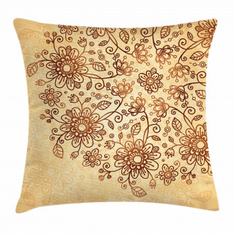 Nature Themed Doodle Pillow Cover
