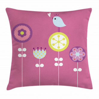 Bird and Hearts Flowers Pillow Cover