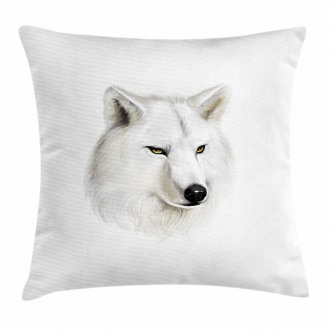 White Canine Head Mammal Pillow Cover