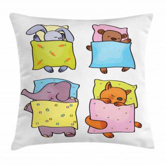 Sleepy Animal Friends Pillow Cover