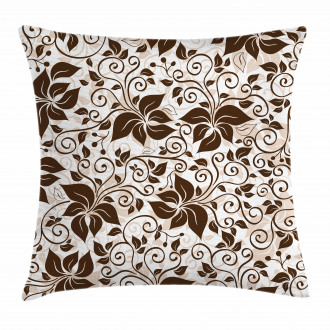 Brown Flower Leaves Pillow Cover