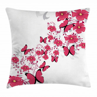 Flower Butterfly Pillow Cover