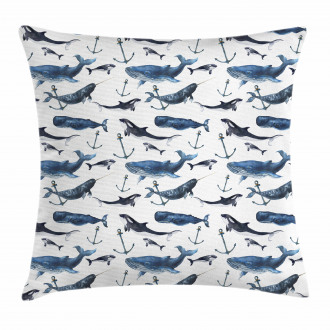 Orcas and Blue Whales Pillow Cover