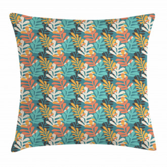 Colorful Leaf Silhouette Pillow Cover