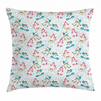 Snowman Skiing Winter Pillow Cover