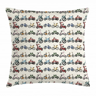 Colorful Bicycles Pattern Pillow Cover