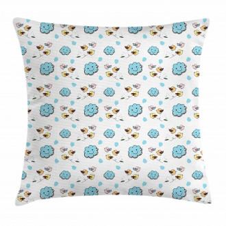 Little Birds Blue Clouds Pillow Cover