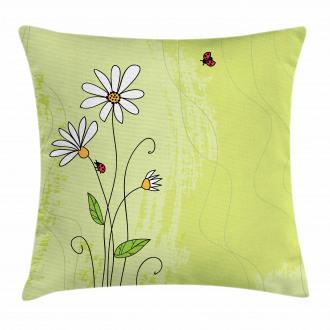 Chamomile Ladybugs Art Pillow Cover